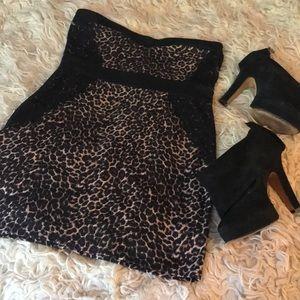 Charlotte Russe strapless dress L leopard & lace